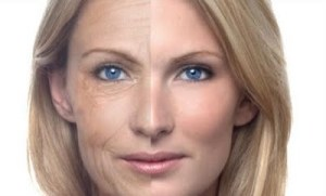 anti-aging woman with two sides of face