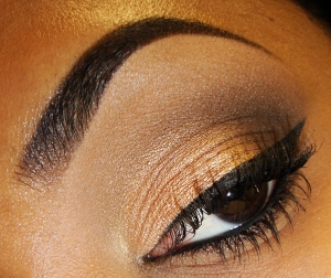 Using Small Angled Brush and Cream Eye Liner